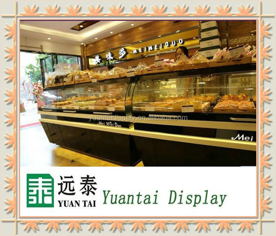 high quality refrigerated bread cake glass display cabinet/kiosk/rack