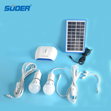 Suoer Lithium Battery 6V 3W PV solar portable lighting system led mini project solar home lighting system