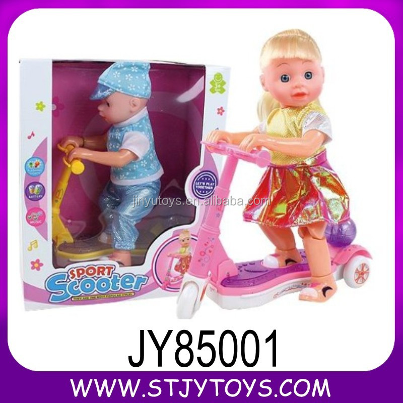 Lovely Battery Operated Fashion Baby Doll With Scooter