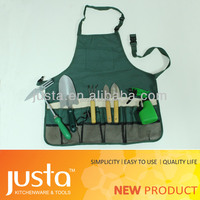 Multi function gardening apron with canvas tools set