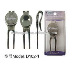Manufacturer custom metal golf divot repair tool with magnetic ball marker , golf accessory D102