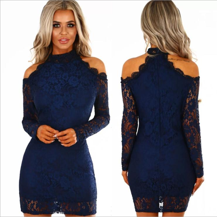 K3475A Wholesale Slim Bodycon Lace Dress Ladies Night Club Bandage Dress Long Sleeve Cool Shoulder Club Dress Sex Women