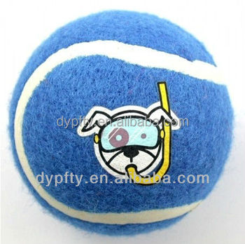 custom blue tennis balls with logo printed for dog toys