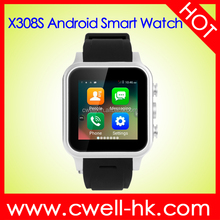 Smart X308S Micro SIM Card Android 4.4 MTK6572 Dual core 1GB RAM 8GB ROM WIFI GPS 3G smart android wrist hand watch mobile phone