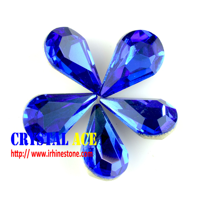 Fancy strass Sapphire Crystal glass rhinestone drop shape,pear shape rhinestone strass for jewel