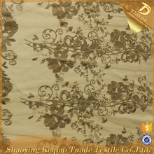 Custom Embroidery Lace Nylon Gold Metallic Mesh Fabric