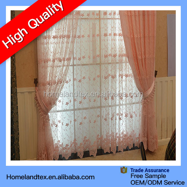 China curtain supplier Pink white color lace fabric curtains for sale