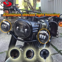 Motorcycle accessories auxiliary light case black and chrome housing for harley