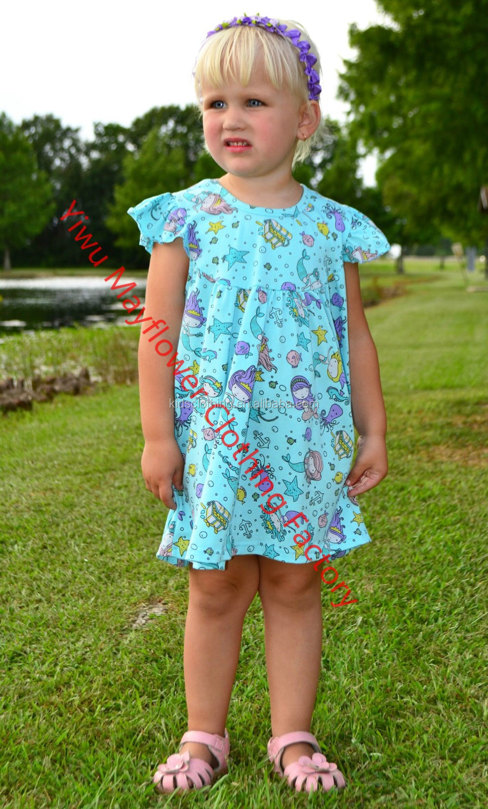 latest casual dress baby girls mermaid print summer dress with flutter sleeve lovely princess dress