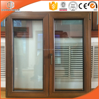 Fashionable teak wood clad aluminum casement window drawing by windows suppliers