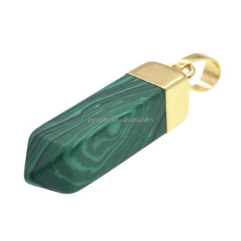 Gold Color Malachite Crystal Beads Women Fashion Semi precious Stone Pyramid Gemstone Pendants for Jewelry
