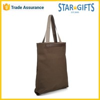 Wholesale Foldable Handled Brown Men Canvas Bag With Leather Accents