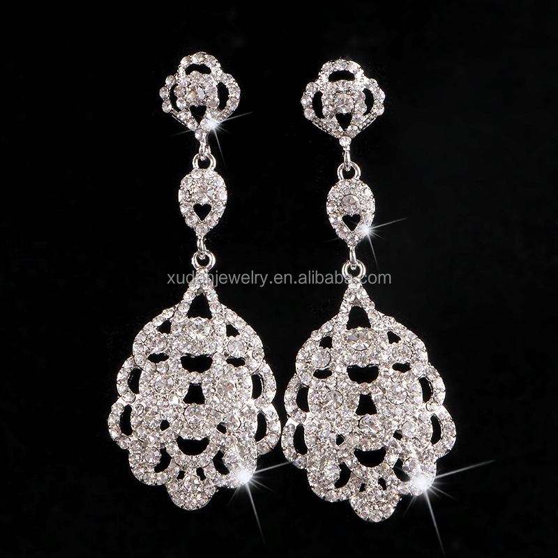 Fashion Graceful Women Evening Jewellery Full Crystal Filled Long Drop Earrings For Women Bridal Girl Accessories