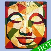buddha oil painting on canvas,Latest design of modern abstract art oil painting large Buddha head Shenzhen China Wholesale