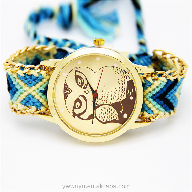 Owl Analog Women Quartz Weave Bracelet Brand Your Own Watches
