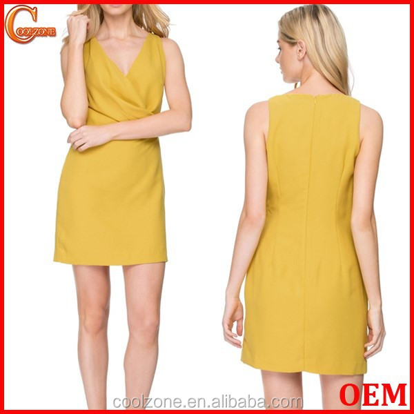 Slim fit sleeveless wrap front summer dress for woman dress 2016