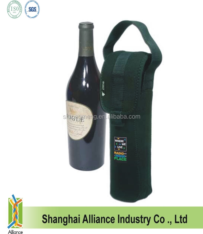 Custom logo printed One Bottle neoprene insulate wine tote bag