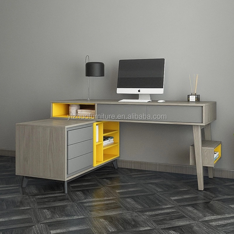 new design E1 grade mdf wooden computer desk for commercial furniture use