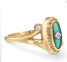 Fashion design university rings gold AA class rings for graduation ceremony