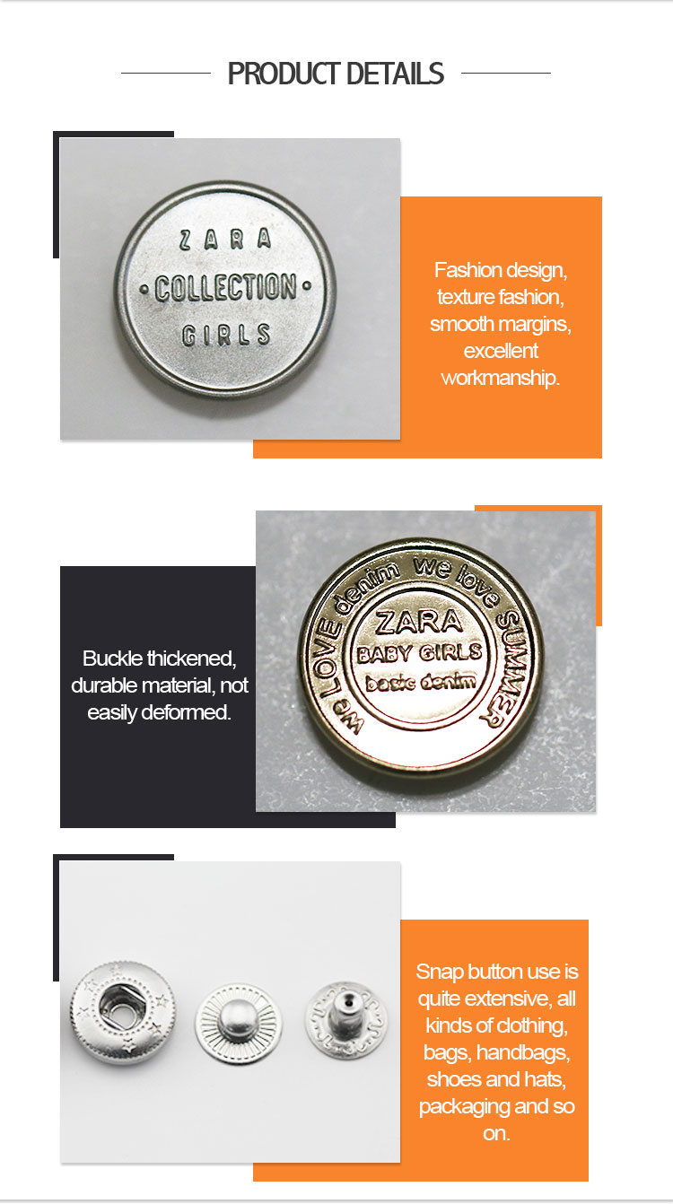 Professional manufacturer durable custom jean jacket metal press snap button with best price