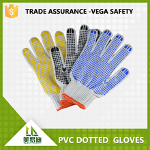 blue pvc dots coated on white cotton working glove