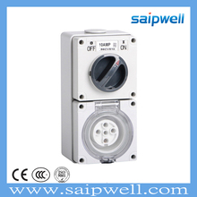 SAIPWELL/SAIP New Type IP66 CEE/IEC 10A/500V 5 Poles Industrial Waterpoof Isolating Combination Switch Socket