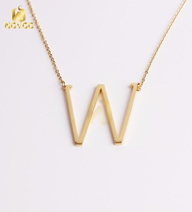 Customize pendants alfhabet initial necklace 24K Gold stainless steel necklace