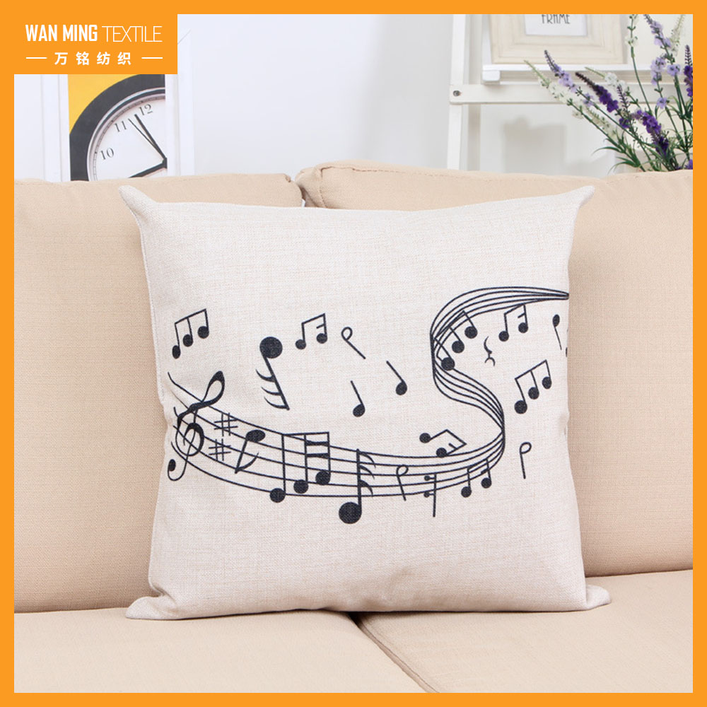 Wholesale Musical Notes Digital Print Linen Sofa Bed Home Decor modern pillow cases