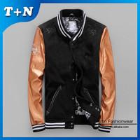 Yellow slim fit men pu leather jacket