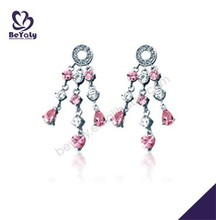 Ethnic style pink and clear cz srop crystal avenue earrings