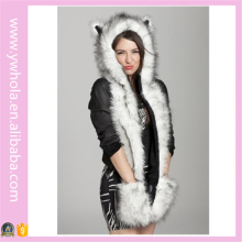 Yiwu Adult Animal Ears Long Faux Fur Winter Hat with Scarf