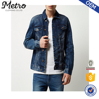 High Quality Dark Blue Denim Men's Jean Jackets Washed Denim
