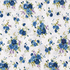 100% cotton fabric white Blue small floral rose high quality fabric HYC0017