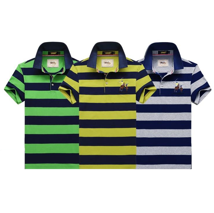 Custom Men's Polo T-Shirts OEM Branded Man Polo Shirt Classic Collar Striped Polo