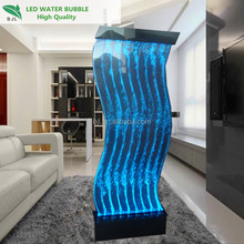 floor standing acrylic water bubble panel wall with LED light strip holiday water feature
