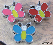 Cute metal enamel with rhinestone beads butterfly small order is ok