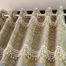 New stripe Chinese gray chenille jacquard embroidered or ganza sheer voile curtain fabric