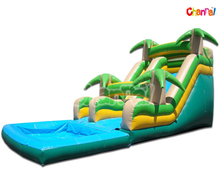 Inflatable Tropical Water Slide/Lake Inflatable Wet Slide with Big Inground Pool