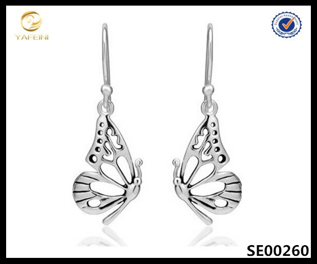 925 Sterling Silver Open Half Butterfly Wing Dangle Hook Earrings Jewelry