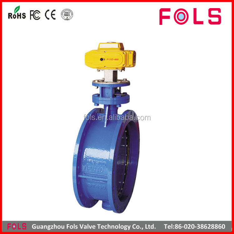high quality cast iron electric flange lp butterfly valve