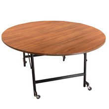 China wood small folding table with wheels