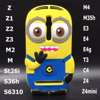 3D Despicable me Back Cover Bumper protective minion case for sony xperia z1 z2 z3 z4 mini e4g m2 m4