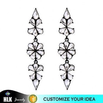 New steel costume jewelry round crystal gemstom earring