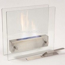 Custom size free standing glass fireplace from china
