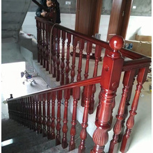 Customized indoor decorative red oak stair handrails pictures