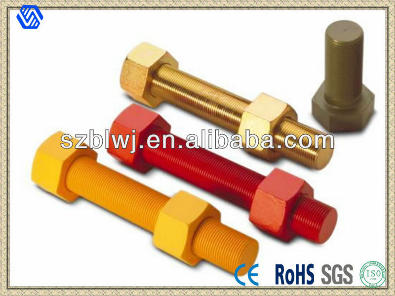 Multi-Colored Stud Bolts And Hex Nuts