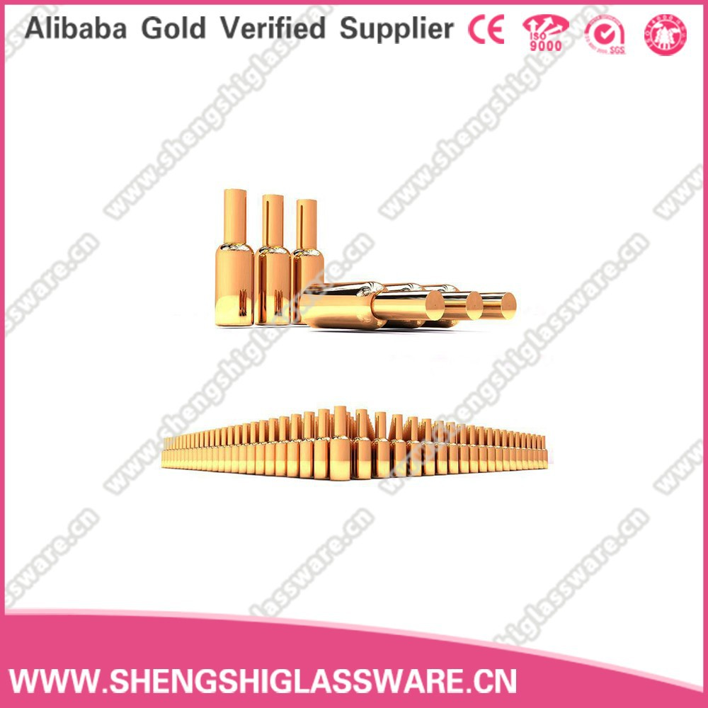 Golden Electroplating essential oil bottle ,glass dropper bottle with gold cap