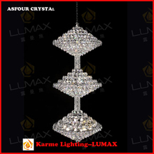 Popular Large Big Hotel Crystal Stair Chandeliers Pendant Hanging Lamp Light Lighting