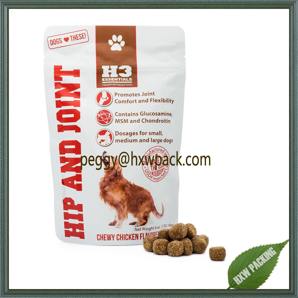 stand up food grade nutrition packaging bag, dog treat bags, pet food bags