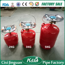 Portable camping gas cylinder in Ukraine, 2kg,3kg,5kg lpg cylinder tank with color box packing